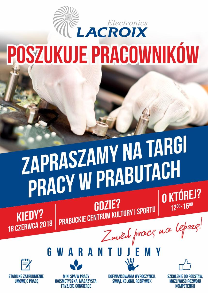Plakat reklamowy rekrutacji Lacroix Electronics 18 czerwca 2018 r. godziny 12-16 w Prabuckim Centrum Kultury i Sportu